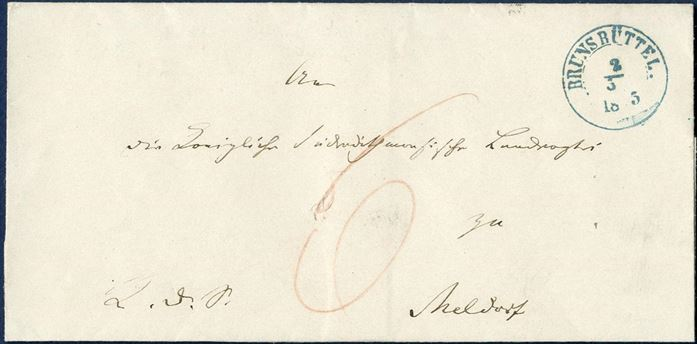 "Official letter sent from Brunsbüttel to Meldorf 2 March 1855, charged 6 sk. by the addressee. ""Brunsbüttel"" CDS Ant. IIb in blue ink."