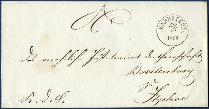 Official letter sent from Barmstedt to Breitenburg near Itzehoe 12 May 1852. Postmarked Barmstedt CDS Ant. IIb type, with manuscripted date. Very fine and clear strike.