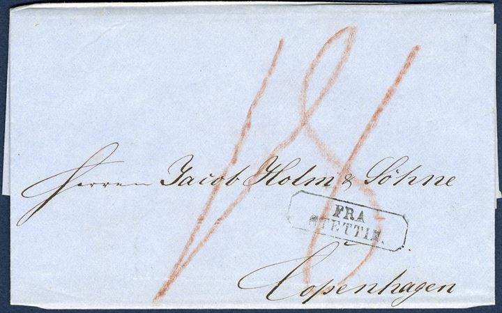 "Ship-letter sent from Stettin to Copenhagen 21 October 1859 showing octagonal ""FRA STETTIN"", endorsed ""18"" sk. due by the addressee, paying the German rayon 2 to Danish rayon 9, each 9 sk."