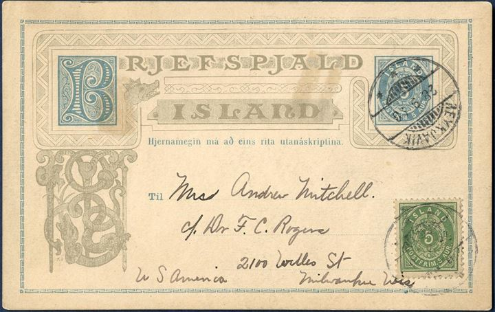 5 aur postal stationery sent from Reykjavik to Wilwaukee Wisconsin USA on 28 September 1898, additional franked with 5 aur perf 12 3/4 II. printing. Map of Iceland printed on reverse, three such stationeries recorded to Iceland.