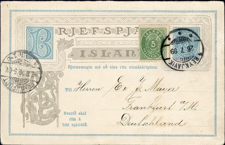 5 aur postal stationery REPLY CARD sent from Reykjavik to Kolding 2 December 1896, additional franked with 3 aur small numeral perf 14, with Kolding JBPE CDS arrival mark on front. Denmark favoured rate only 8 aur instead of 10 aur UPU rate.