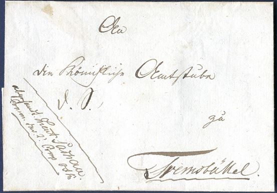 "Napoleonic War. Military letter endorsed ""D.S."" Dienst Sache sent from Fresenburg to Tremsbüttel in Holstein 31 May 1813. On front endorsed ""Lieut Sachau, Comm. Der 2' Comp. ---"". An unusual endorsement on the front of the letter, 1 wax seal on reverse."