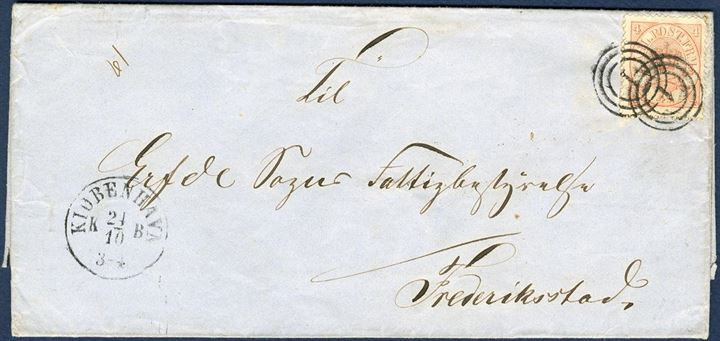 "Letter sent from Copenhagen to Friedrichstadt in Slesvig 24 October 1864, franked with 4 sk. 1864 tied by numeral ""1"" alongside København CDS. The letter was during the 1864-war after Slesvig was occupied by Prussian troops and in this period there were no postal arrangement between Denmark and Slesvig. In this case, the letter is not charged 1 1/4 Sch. C by the addressee."