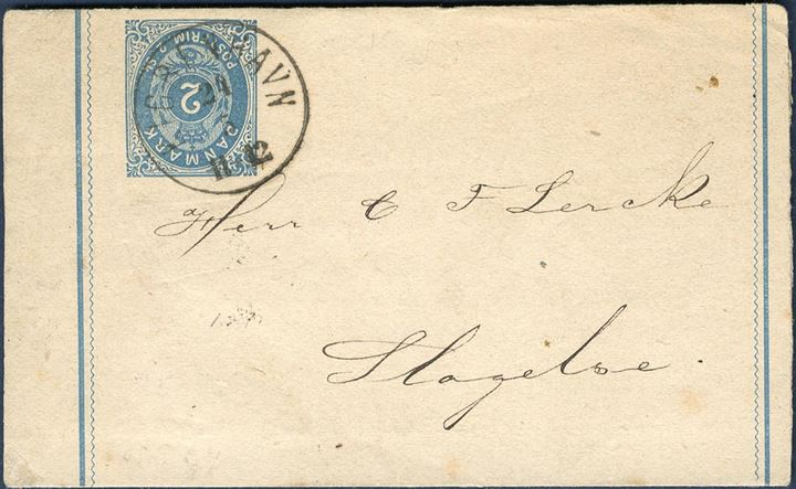 2 sk. stationery wrapper used from Copenhagen to Slagelse May 24, 1872-74. Rare.