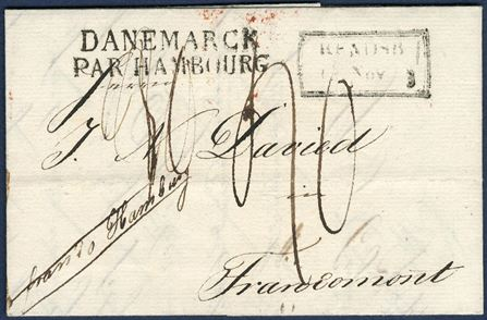 "Unpaid letter sent from Rendbsburg franco Hamburg to Francomont 14 November 1833, showing the scarce boxed ""RENDSB 13 Nov 33"", Hamburg transit ""DANEMARCK – PAR HAMBOURG"" and receiving mark in Francomont on reverse. ""40"" decimes due by addressee marked on front.  Latest recorded date of the boxed Rendburg mark."