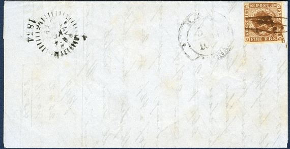Market report sent from London to Copenhagen 5 October 1854, franked with a Danish 4 RBS Thiele III olivebrown plate IV-49 tied by pen cancellation alongside Altona two-ring CDS, showing Copenhagen Compass mark on front. Without the ban, though still a rare item with ink cancellation.