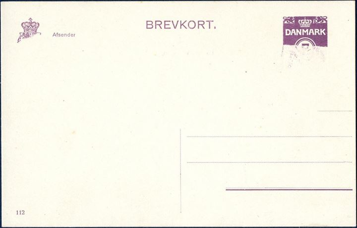 7 øre BREVKORT with partly missing overprint, printing 112. Ringstrøm 85 I. SK EB85.