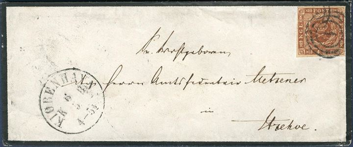 Mourning letter with black colored border sent from Copenhagen to Itzehoe 6 May 1860, franked with 4 sk. 1858 wavy line spandrels and stamp showing natural paper fold.