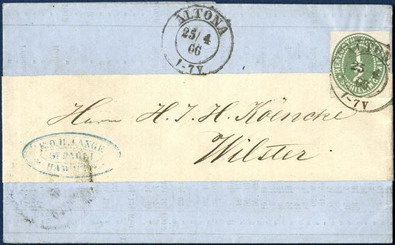 Price current with band sent from Altona to Wilster 25 April 1866, franked with 1/2 S. green Herzogth-Holstein, tied by Altona two-ring. Unusual item.