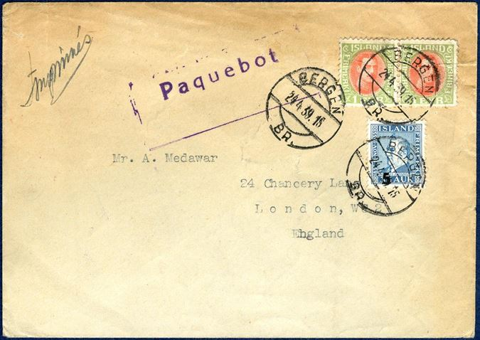 "Printed matter sent from ""Reykjavik ?"" to London via Bergen, franked with pair 1 Eyr Chr. X and Jochumsson 5/35 aur tied by ""Bergen 24 April 1939"" CDS alongside boxed lilac  ""Paquebot"" mark. A rare and unusual letter."