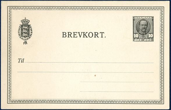 10 øre BREVKORT ESSAY in black with 10 øre Frederik VIII issue. UNIQUE. Ringstrøm #29.