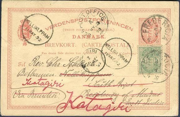 10 øre postal stationery card from Fredericia April 20, 1892 to Nellikuppam and re-addressed to Katagiri with a supplementary franking of 5 øre paying the 15 øre UPU overseas rate for postcards with a seapost office mark and various transitmarks.