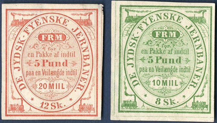 "Railway freight stamps from ""De Jydsk-Fyenske Jernbaner"", 8 sk. for 5   length 10 Mill and 12 sk. for 5   length 20 Mill. A rare set, small faults."