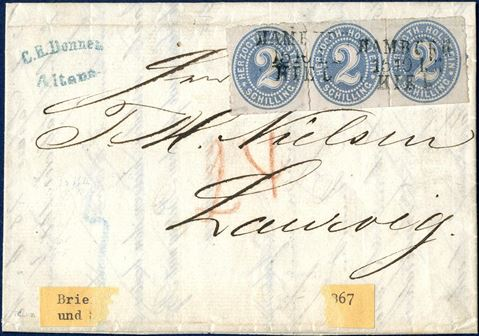 Letter sent from Altona to Laurvig in Norway 15 October 1867, franked with a 3-strip 2 Sch. blue Herzogth-Holstein cancelled with Hamburg-Kiel railway mark with ship to Norway by ship from Kiel, crayon 24 on front. Minor faults to stamps, but indeed a scarce letter to Norway from Holstein.