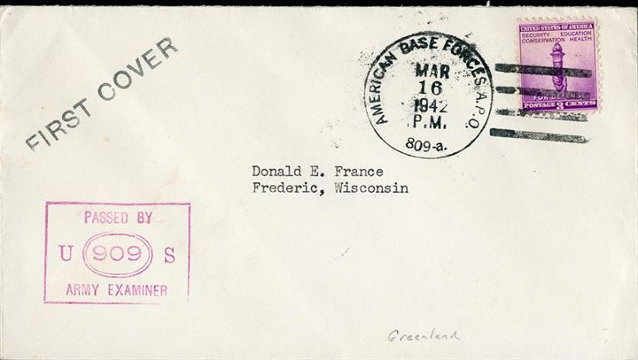 Iceland APO 809-a, FIRST COVER stamped 16 March 1942, the number 809-a quite scarce.