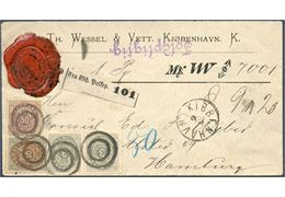 Parcel letter weighing 9  20 quint sent from Copenhagen to Hamburg 7 June 1882, bearing two 3 øre, 16 øre and 50 øre bicolored tied by 2-ring without number. Colorfull letter.