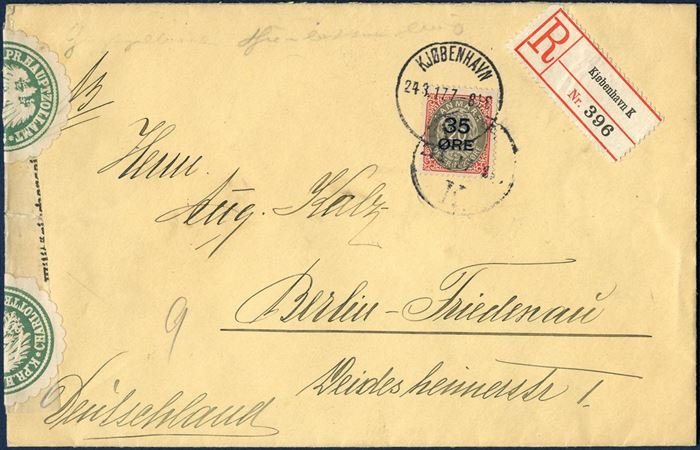Registered letter sent form Copenhagen to Berlin 24 March 1917, bearing a 35/20 øre provisional tied by Copenhagen CDS, opened by German Customs in Charlottenburg and resealed.