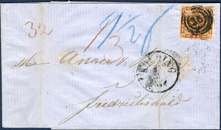 Partly paid letter sent from Kolding to Frederikshald 14 September 1863 via Sandøsund 17 September. Danish postage 20 sk, consisting of 2 Lsk. Danish share, Seapostage 2 Lsk. and Norwegian share 2 Lsk. However partly franking not allowed, therefore full postage claimed, 12 sk. specie plus 1 sk. delivery fee, total 13 sk. specie due by the addressee.