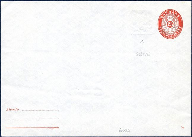 25 øre KONVOLUT with additional 5 øre wavy-line blindprint. Ringstrøm # 65I, SK KV66.