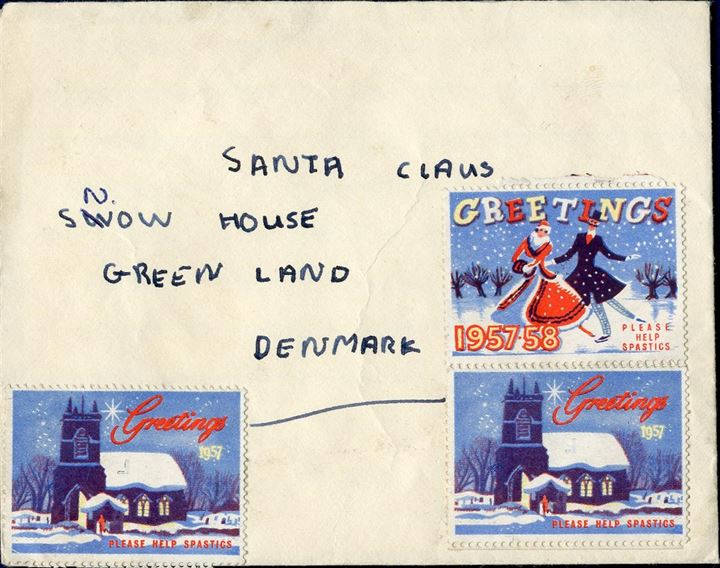 Envelope sent from Derby to Santa Claus, Greenland 1957, with letter inside.