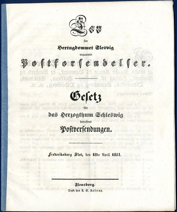 The Postal Law of Schleswig 18. April 1851. The use of 4 RBS was introduced 1 May 1851.