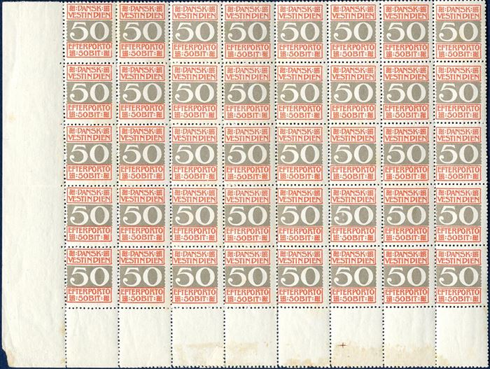 50 BIT EFTERPORTO stamp large multiple of 40, mint never hinged, perforation 14 x 14 1/2, AFA 8B (catalogvalue dkk 18.000), some split perfs., rare multiple.