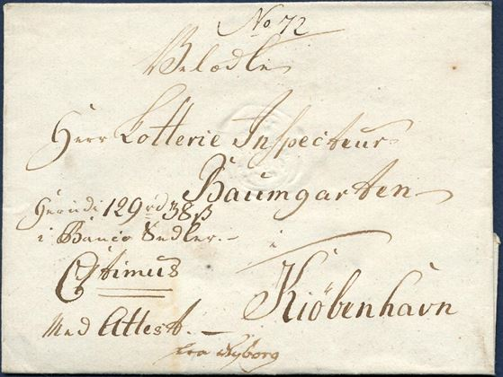 "Banco-letter (value letter) 129 Rdl. 38 sk. sent from Nyborg to Copenhagen (Baumgarten 1766-1791), with Nyborg's post office seal ""NYBORG C7"" and roayal insignie C7 timus."