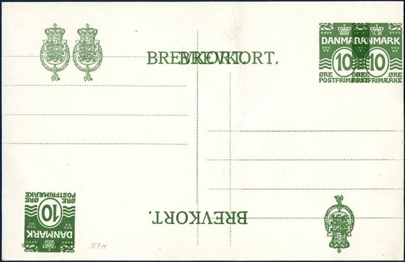 10 øre green wavy-line BREVKORT with double and double inverted overprint. A most interesting item for the specialist. Ringstrøm 81AyII. SK EB81.