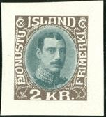 2 Kr. King Chr. X 1931 Þjónustu frímerki, imperforate proof of the adopoted colours for the 2 Kr. ordinary postage stamp with narrow lines, without gum.