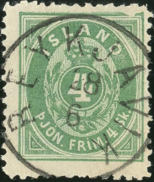 4 sk. Pjonustu perforation 12 1/2 cancelled with Reykjavik, cancelled to order. Major plate flaw with large white den in upper frame to the right, pos. 3 in each quarter sheet.