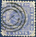 "4 Cents 1873 blue, line perforation 12 1/2. Stamped with Danish numeral ""1"" Copenhagen, indeed rare with numeral 1, excellent copy."