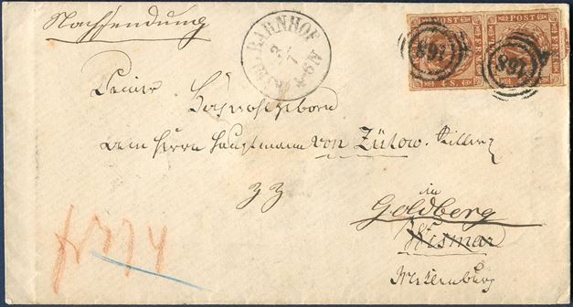Letter sent from Kiel to Goldberg in Mecklenburg July 3, 1863 and franked with a pair of 4 sk. roulletted tied by numeral 168 of Kiel. 4 sk. from Danish rayon 1 and 4 sk. to German rayon 1, total rate 8 sk. in effect from 5.7.1854 to 31.7.1865. Only recorded letter with this franking.