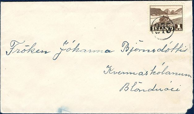 "Letter bearing a 1 Kr. agriculture 1950-stamp, tied by numeral ""275"" Stóra-Giljá with slightly rounded corner on the envelope."