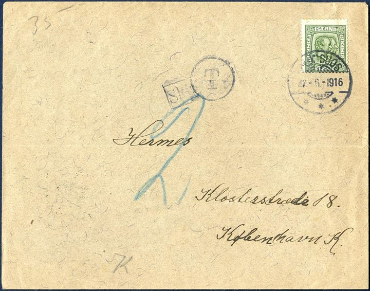 "Printed matter sent from Blönduós to Copenhagen 22 June 1916 bearing a 5 aur Two King's issue tied by Blönduós CDS. Taxed 2 aur in blue chalk with circular ""T"" alongside boxed shipmark ""Skjibsbref"". Unknown for what reason the letter has been taxed, as 5 aur was the correct rate at this time."