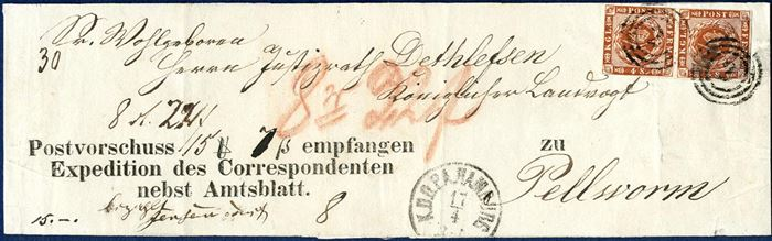 NEWSPAPER WRAPPER BAND with Postal Money Demand 22 Rdl 22 sk. sent from Hamburg to Pellworm 17.4 (1858-1863). Double letter rate paid by pair of 4 sk. 1858 wavy-line spandrels, Money Order Fee 8 sk. 5-10 Rdl. paid in cash, list no. 30. Wrapper bands are very unusual items.