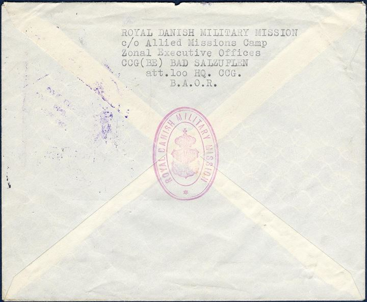 "Letter sent from the ""ROYAL DANISH MILITARY MISSION"" c/o B.A.O.R. in Bad Salzuflen to Hamburg 21 January 1947 with a two-ring seal ""HQ CONTROL COMMISSION FOR GERMANY – Message and Mail Centre"". Quite unusual letter sent from the Danish military representation in Germany."