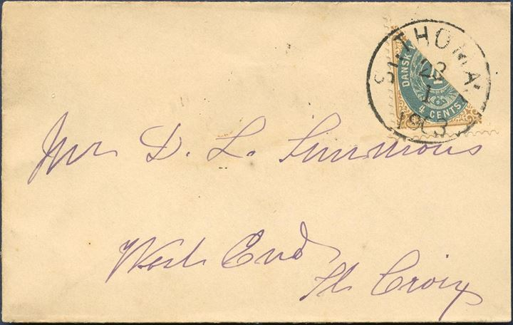 Small envelope from St. Thomas 23 January 1903 to St. Croix. Bisected 4 CENTS III. printing greenish blue shade, which is rarely seen on letters.