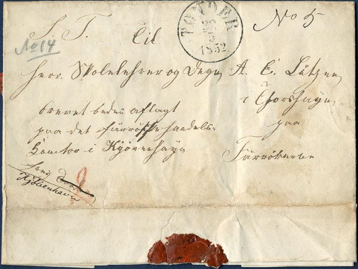 Entire letter from Horsbüll, South East of Tønder in the Duchy of Schleswig on 22 May 1852 to Thorshavn, Faroe Islands. From Tønder with list no. 5 to Copenhagen, and to Thorshavn a list no. 14 noted in pencil, paid and marked 2 Sch. C marked in red (6 RBS. Few letters from Schleswig this early has been sent to the Faroe Islands.
