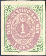 1 cent bicoloured normal frame. Imperforate proof without watermark and gum. Rare.