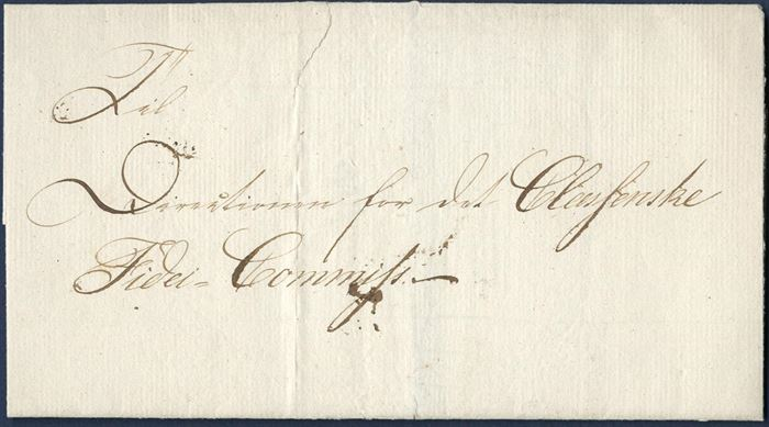 "Local letter sent to the ""Classenske Fidei-Commiss"" in Fredericia 1824 – letter sheet with watermark, no contents. Beautiful wax seal with F5"