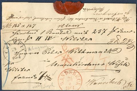 Unpaid parcel letter sent from Wandsbeck 25 May 1864 to Neuenkirchner Wiseh near Wilster with RED WANDSBECK CDS, and then returned to Wandsbeck with Crempe transit mark. Danish postmarks used when Schleswig-Holstein were occupied by the Prussian and Austrian forces.