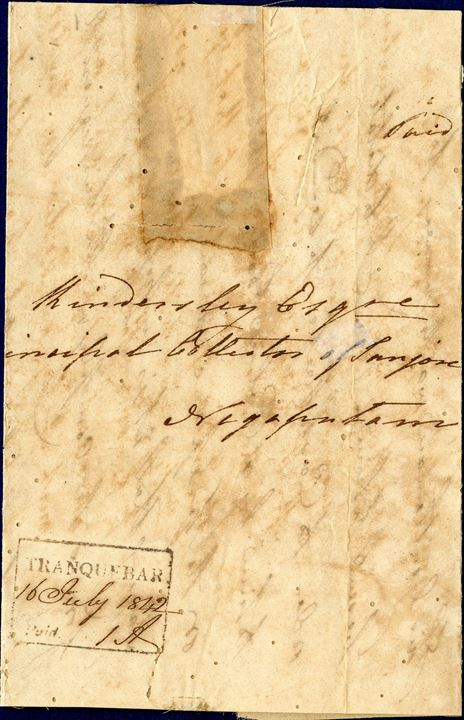 "Letter sent from Tranquebar to Negapatam 16 July 1842 stamped with boxed ""TRANQUEBAR Paid"" mark and sent during the Danish time before the British reigned from 1845. Nicely restored in order to preserve the letter. Rare."