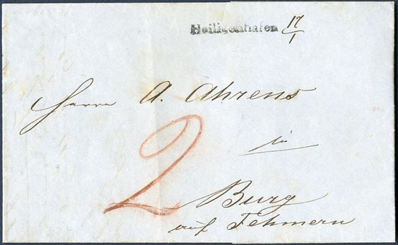 "Unpaid letter sent from Heiligenhafen to Burg Fehmern 17 January 1853, stamped with 1-line mark ""Heiligenhafen"" + ink. 17/1 and ""2"" Sch. C due in red crayon. Heiligenhafen 1-line mark only recorded used from 16.11.52 till 21.1.1853 a little more than only two months. Scarce. Heiligenhafen is located north of Oldenburg and south of the Fehmarnsund Brücke in Holstein."