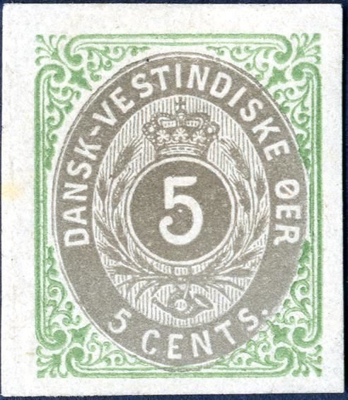 5 cents bicoloured normal frame, main frame group 3. Imperforate proof without watermark and gum. Rare.