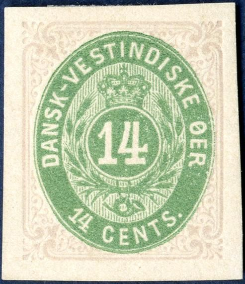 14 cents bicolored normal frame. Imperforate proof without watermark and gum. Rare.