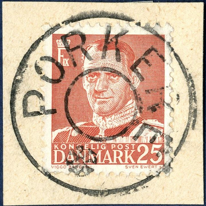 PORKERE removed-star cancel on 25 øre King Frederik IX issue tied on piece. Superb strike of scarcest of all removed-star cancels from the Faroe Islands.