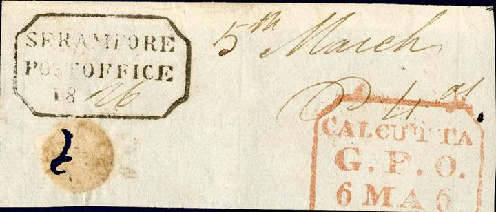 Large piece with boxed postmark SERAMPORE POST OFFICE 18 dated May 6, 1826.