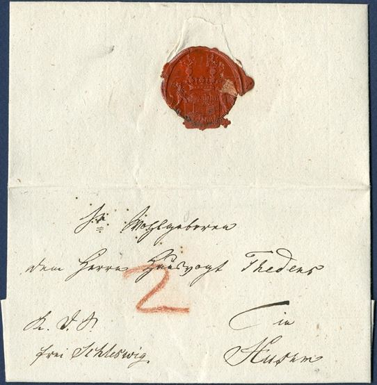 "Royal Service Letter ""K.D.S."" letter sent from Gross Brebel to Husum and paid to Schleswig 14 September 1829 and delivery fee of 2 Sch. C. paid by the addressee. It was not until 1855 that a small collecting office was opened in Gross-Brebel, located South East of Kappeln."