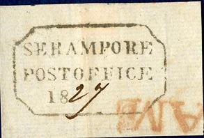 Piece with boxed postmark SERAMPORE POST OFFICE 18 dated 1827