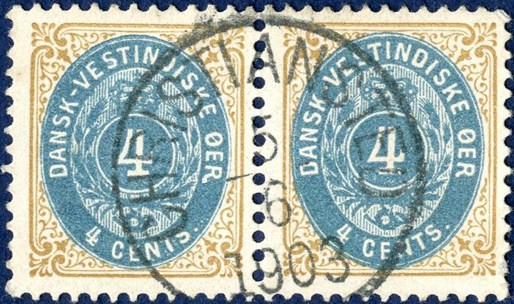 "4 cents bicolored III printing 1901 in pair beautifully cancelled with ""CHRISTIANSTED 5.6.1903"" date stamp. One short perf."